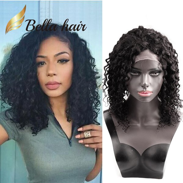 150% Density Kinky Curly Virgin Hair Front Lace Wigs 14inch Natural Black Color Peruvian Deep Curly Full Lace Wigs Human Hair Bella Hair