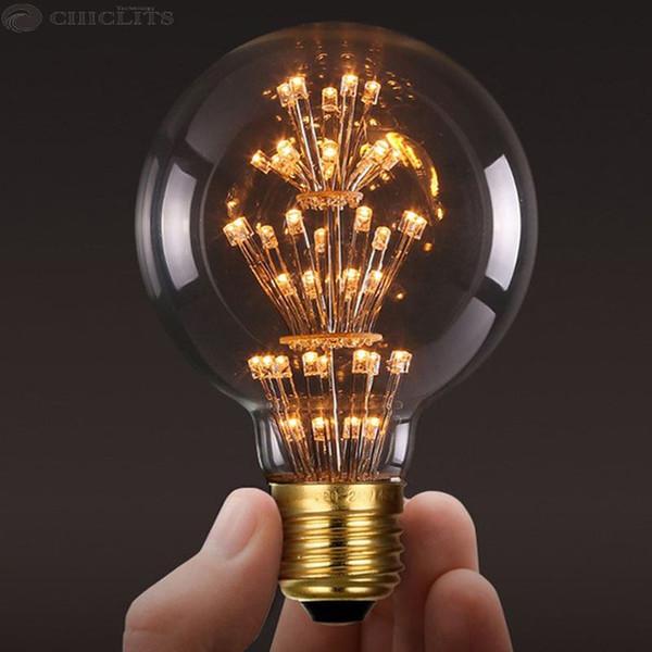 Vintage Star Collection G80 LED Edison filamento bombilla E27 110V 220V Ampolletas Led luz para el hogar claro vidrio cálida bombilla amarilla