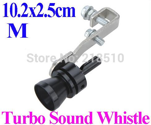 Universal Car Vehicle Turbo Sound Whistle Exhaust Pipe Tailpipe Fake BOV Blow-off Valve Simulator Size M 10.2x2.5cm Black order<$18no track