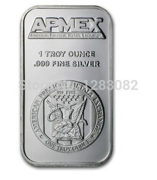 Apmex ~ 1 onza .999 Replica de plata fina Barras de barra de lingotes de arte ~ no magnético ~ envío libre 20pcs / lot