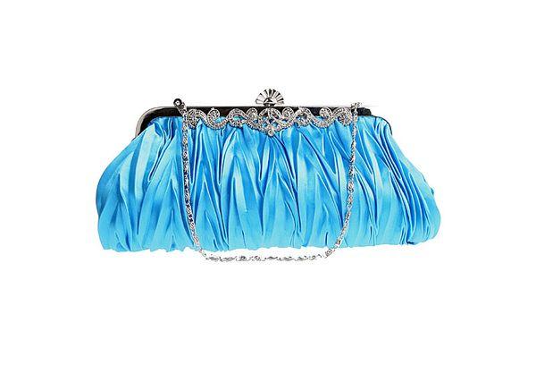 Women Lady Satin Crystal Bridal Handbag Clutch Party Wedding Purse Evening Bag