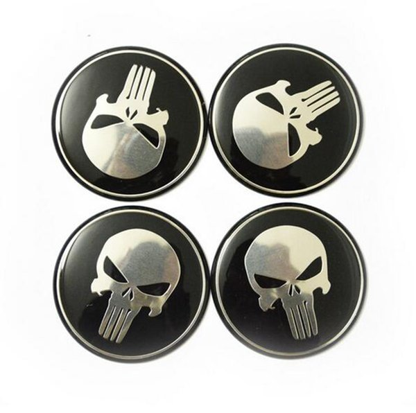 4pcs/lot Cool Punisher Car Steering tire Wheel Center car sticker Hub Cap Emblem Badge Decals Symbol For Honda VW Audi BMW Nissan Ford Toyot