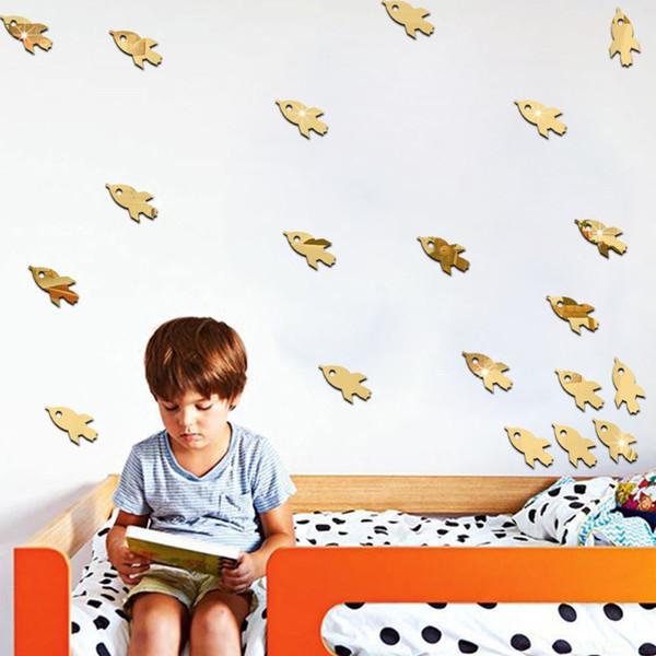 3D 96pcs Spacecraft Rakete Design Spiegel Aufkleber Kinder Zimmer Wohnzimmer Schlafzimmer TV Sofa Hintergrund Dekoration
