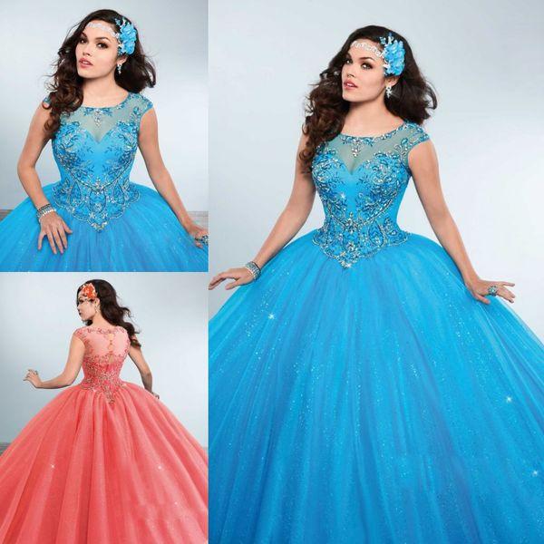 Ragazza Rhinestones Quinceanera Dresses Jewel Neck Short Sleeve Beaded Masquerad Princess Ball Gowns Sequined Debutante Dress
