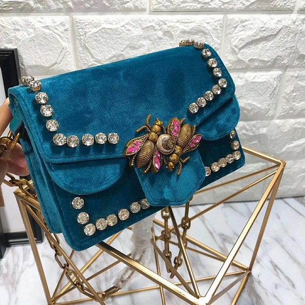 Broadway velvet bag women genuine leather handbag mini chain houlder bag diamond rivet cro body bag bee peal interlocking bag