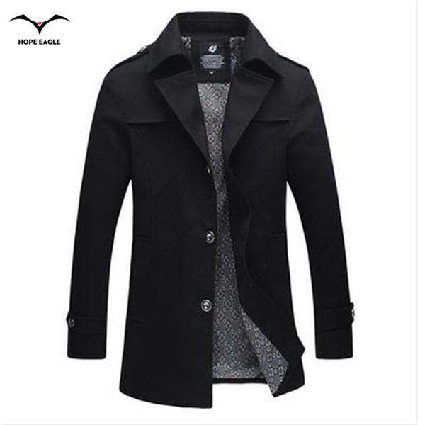 Automne-2016 Mode trench-coat hommes veste hommes pas cher hommes trenchs manteaux de coton Hot-down col rabattu plus la taille 4XL