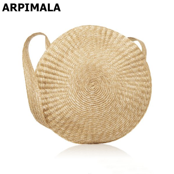 Wholesale- ARPIMALA 2017 Big Circle Straw Bag Luxury Women Beach Bags for Summer Large Designer Women Messenger Bag Vintage Travel Handbags