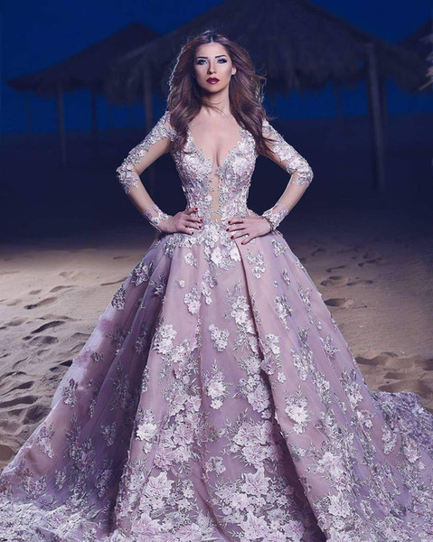 Luxury Sweep Train Dresses Evening Gowns Light Purple Illusion Scoop Neck Long Sleeves Party Quinceanera Dress with 3D Flowers
