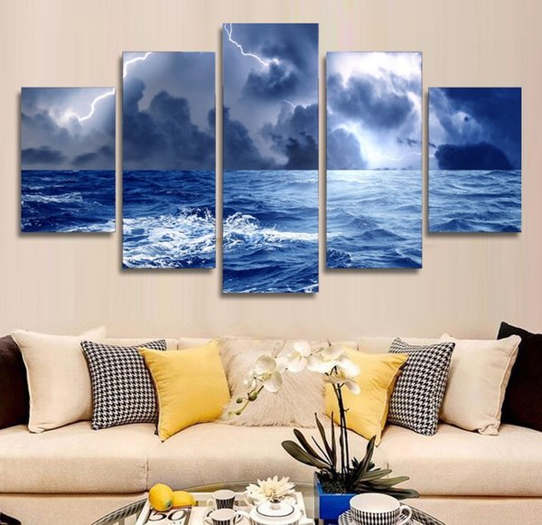 5 Pcs HD Printed Storm Lightning Painting Canvas Print room decor print poster picture canvas art pop