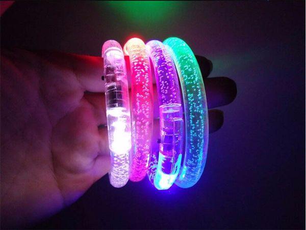 Colorido cambio LED Pulsera Light Up Pulsera intermitente de acrílico que brilla intensamente pulsera juguetes decoración del partido suministros