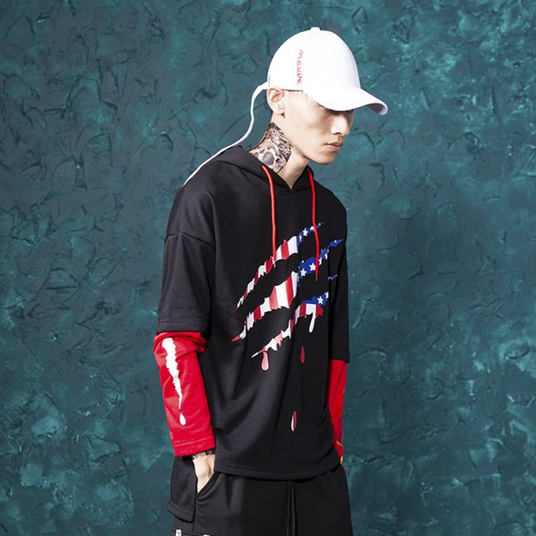 the autumn and winter new men's clothing, fashion trend, personality fashion, two hooded fleece for young casual