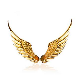 D Metal Angel Wing Decoration Badge Emblem Chrome Car Auto Sticker Decal (Silver,Golden) order<$18no track