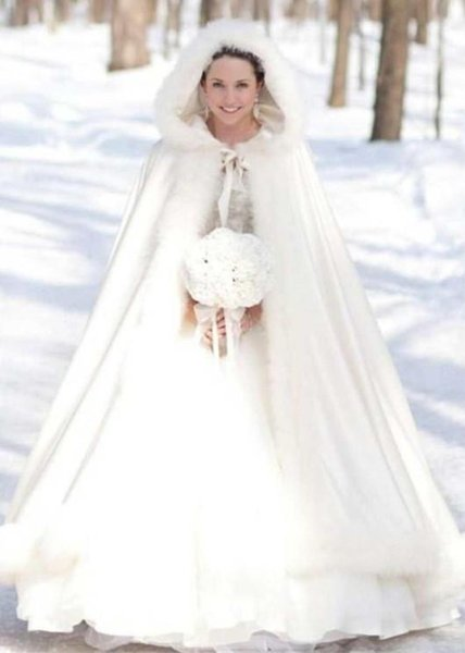 NEW Winter Bridal Cape Faux Fur Christmas Cloaks Jackets Hooded For Winter Wedding Bridal Wraps For Wedding Dresses Sweep