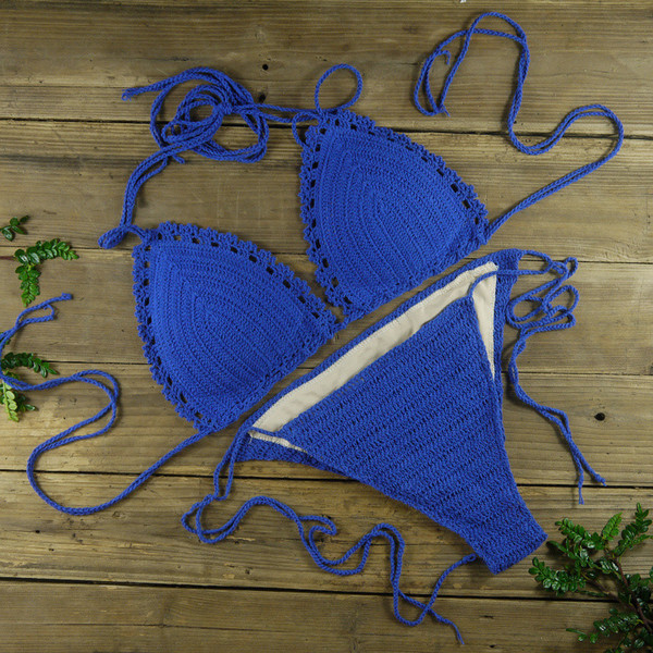 Blue Crochet bikini sets, Scalloped , crochet hippie swimwear, crochet swimsuits, Women sexy beach bikinis, beachwear, Spa Hotel 13 Colour