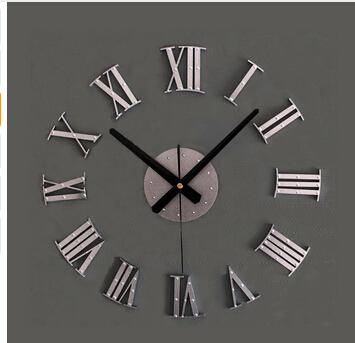 best selling Vintage wood texture 3D Roman numeral clock,home decoration wall watch,wood sticker home decor free shipping