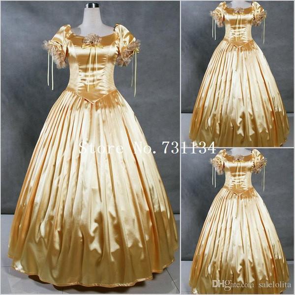 Plus Size Gold Satin Civil War Souther Belle Dress Sweet Victorian ...