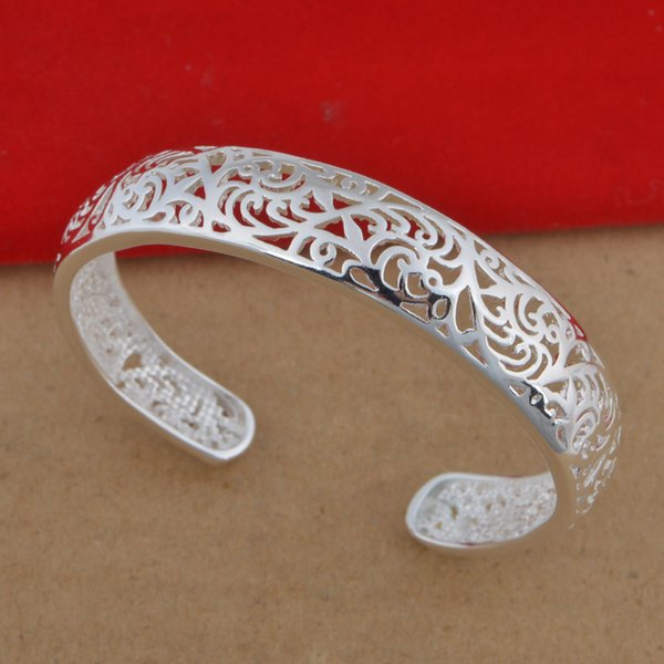 Beautiful Free Shipping hot 925 Sterling Silver plated fashion jewelry charm hollow out bangle bracelet 1PC