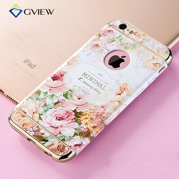 Gview 3d Relief 3 In 1 Bakc Cover Phone Case For Iphone 6 6s /Plus Hard Plastic +Gold Plated Anti -Knock For Iphone 6s Plus