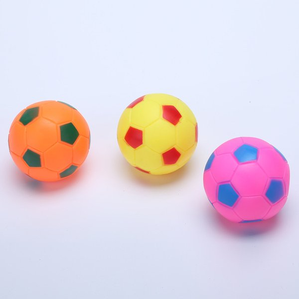Colorful Puppy Sound Ball Bite Resistant Pet Molar Toys Training Interactive Round Football Dogs Chews Balls Toy Portable 1jc B