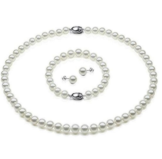 8-9mm Natural Freshwater Cultured Round Pearl Necklace Bracelet and Earrings Set
