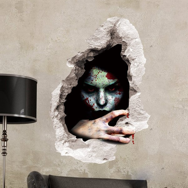 Halloween Wall Stickers 3D Ghost 4 styles Room DIY Cartoon Decoration Chalkboard Wall Party Festival Waterproof Stickers High Qulaity Hot