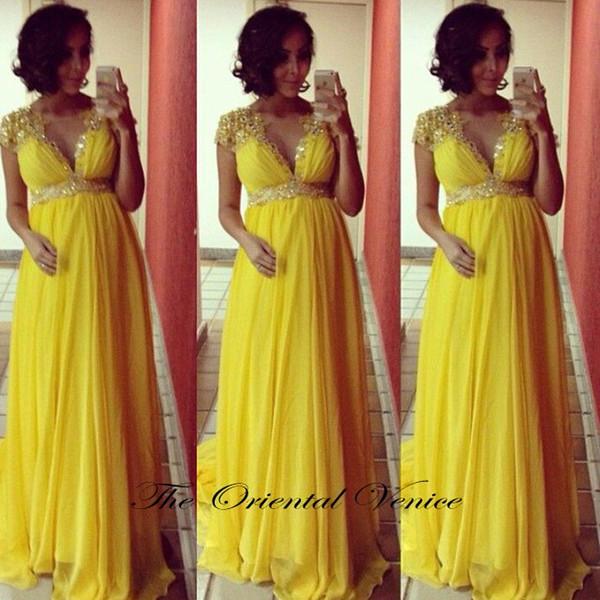 Abendkleider 2017 Yellow Chiffon Maternity Evening Dress Plus Size ...