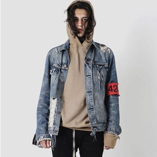 New Arrival Denim Biker Jacket For Men Washed Ripped Jean Jackets Coat With 424 Armband Blue White Bomber Jacket Winter Outwear