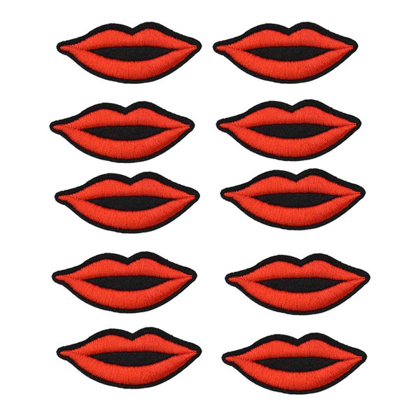 10PCS lips embroidery patches for clothing iron-on patch sewing accessories badge stickers on clothes applique iron on fashion patches DIY