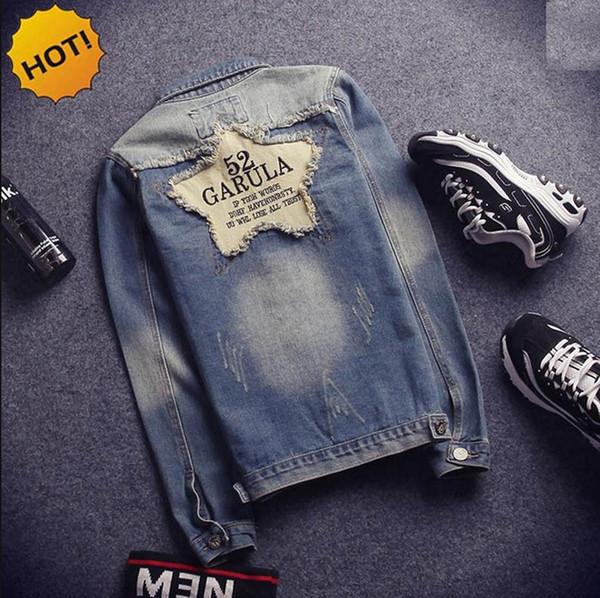 HOT 2016 Outdoor Teenagers Men Spring Autumn Vintage Big back Patch Moustache Effect Slim Fit Hip Hop Biker Jacket Outterwear