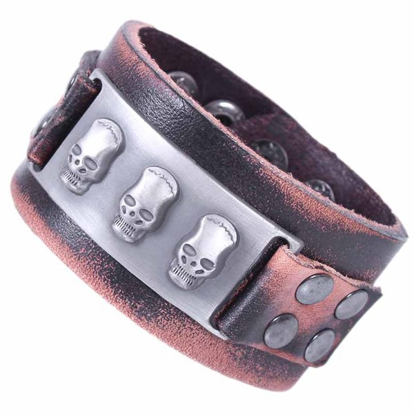 Wholesale 2016 Cuff Bracelets Male Wide Leather Bracelet Skull Punk Rock Jewelry Handmade Skeleton Men Dancer Accessories Free Shipping