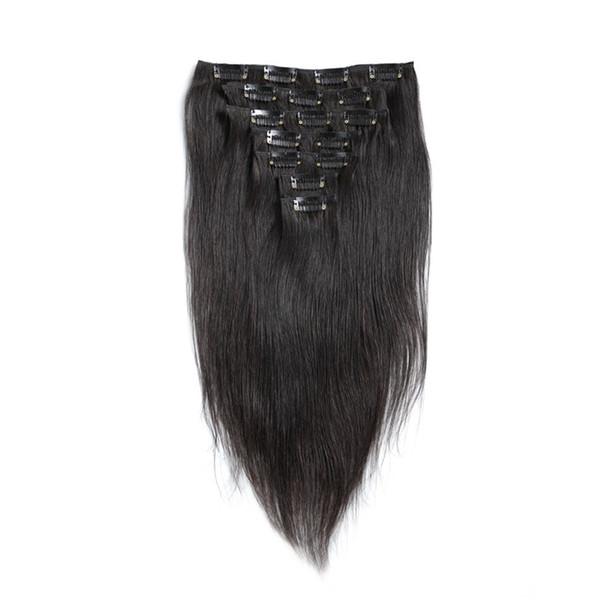 Brazilian Silk Straight Clip In Hair Extensions Virgin Human Clip On Human Hair Extensions Straight 7pcs 100g set Natural Black