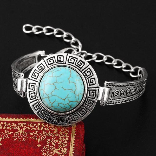 wholesale free shipping Turquoise bracelets fashion jewelry big green turquoise charm bracelets retro bracelet silver plated bangle TB0005