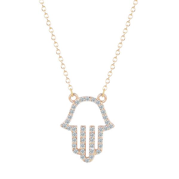 10pcs/lot New Hand of Fatima Hamsa Friendship Crystal Pendant Necklaces Women Punk Brand Jewelry Birthday Gift for Girls Bijoux