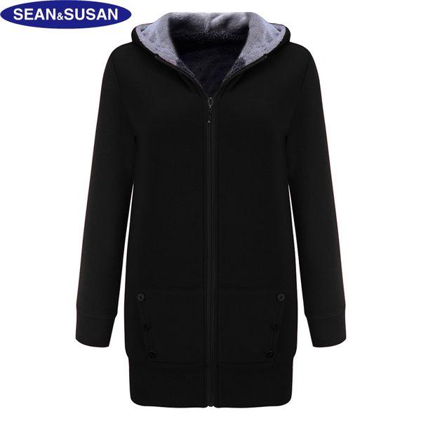 Toptan Satış - SeanSusan Kadife Kapşonlu Uzun Ceket Polar Astarlı İnce Ceket Kadın Faux Fur Basic Coats Kış Siyah Hoodies Veste Doudoune femme