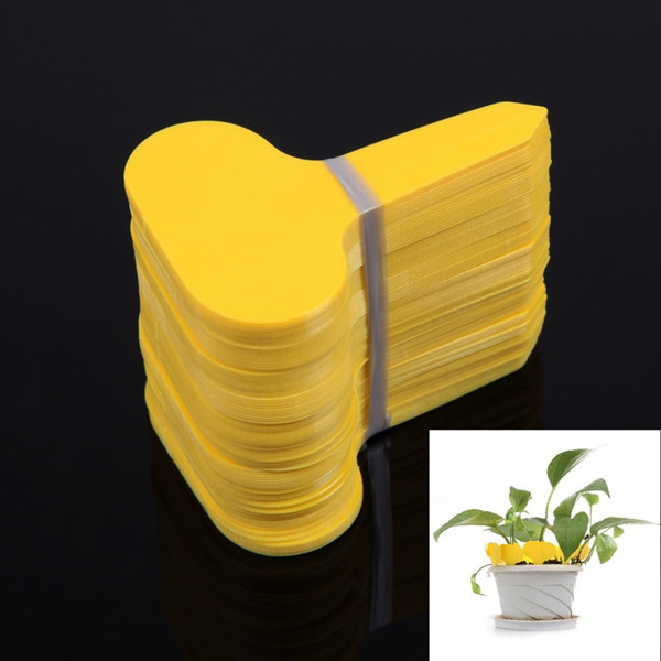 100Pcs Yellow T-type Plastic Plants Labels Nursery Flower Pot Thick Tag Marker Goods for Plants Garden Ornaments Tool
