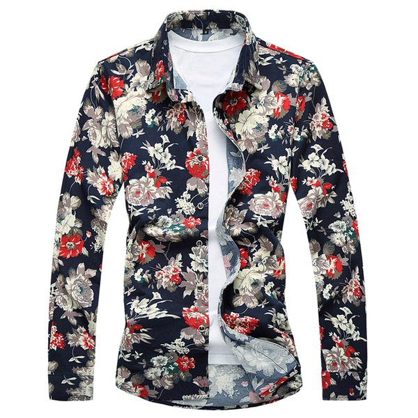 Wholesale- Floral Shirt Men Long Sleeve Shirts 2017 Fashion Men Hawaiian Shirt Luxury 6XL 7XL Plus Size Camisa Masculina High Quality T186