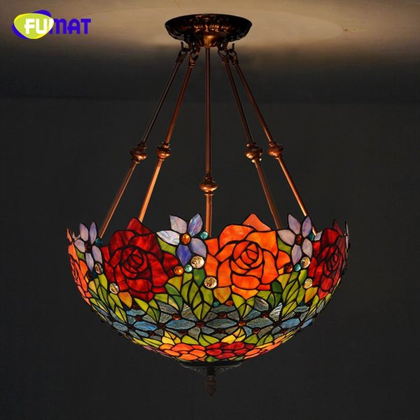 tiffany suspension lamp art stained glass rose lamp living room