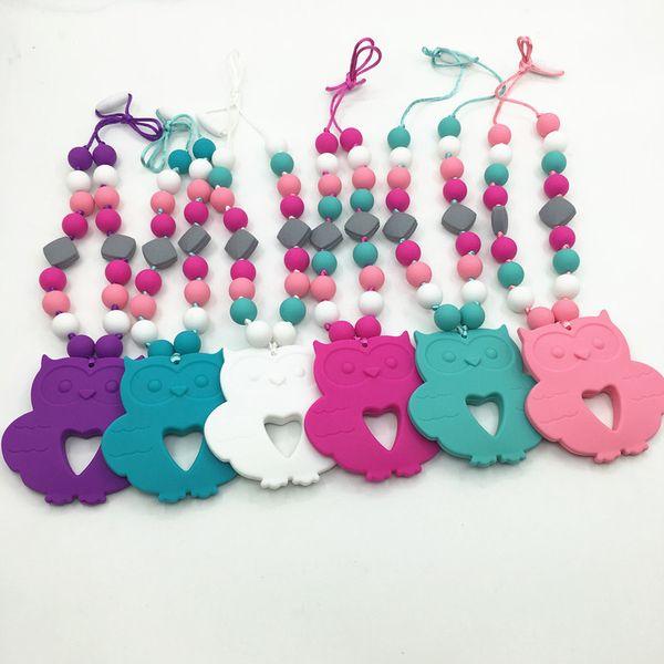 Owl Pendant Silicone Teething Necklace Nursing Necklace ,baby silicone beads necklaces