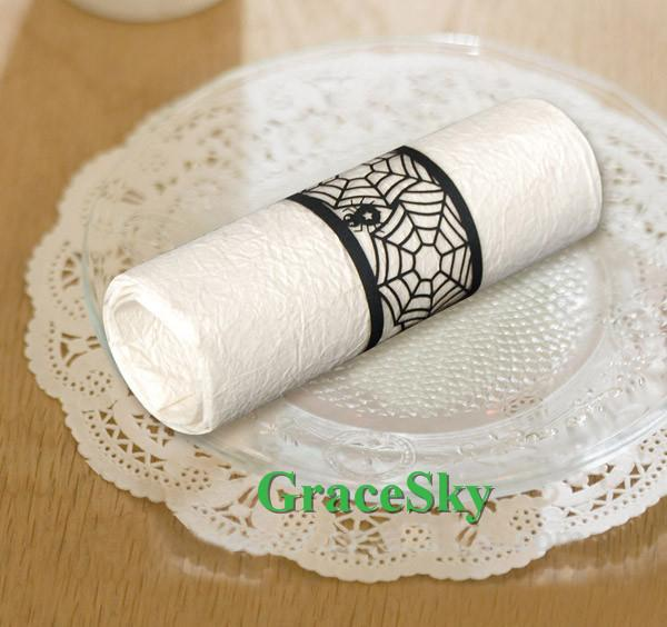 50Pcs Free Shipping Laser Cutting Spider Web Design Paper Napkin Ring for Halloween Birthday Business Party Towel Buckle Table Decoration