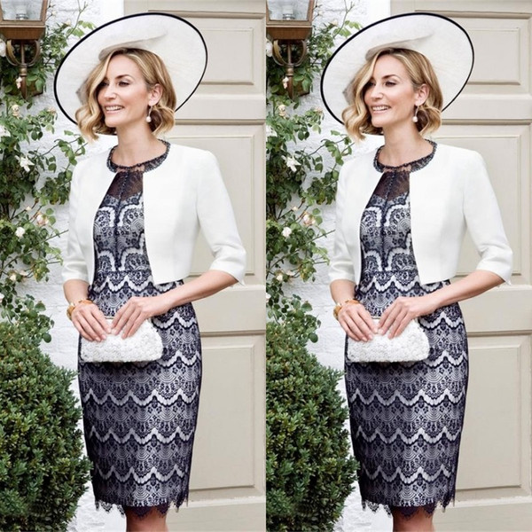 2016 New Mother of the Bride Dresses Modest Navy Blue Lace Cocktail Party Gowns Groom Mother Suit Illusion Neck Gowns White Bolero