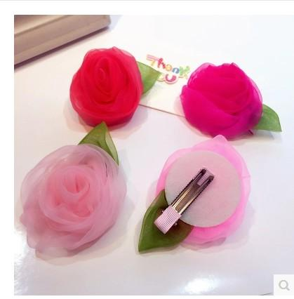 TOP selling 6pcs princess big rose baby Girl kids boutique Hair clips many colors flower barrettes