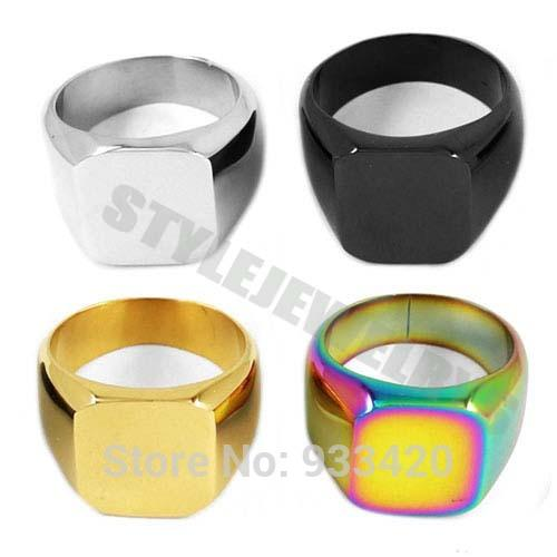 Free shipping! High Polished Colorful Signet Solid Masonic Ring Stainless Steel Jewelry Smooth Surface Motor Biker Men Ring R79B