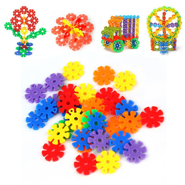 100 pcs/pack Colorful Plastic Snowflake Building Blocks Educational Toy Bricks DIY Assembling Classic Toys Early Educational Learning Toys