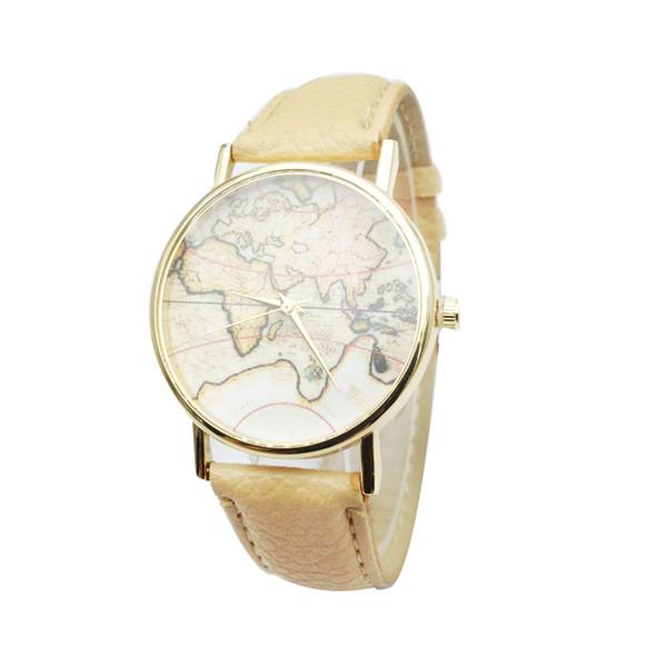 SıCAK Moda Dünya Haritası Izle Cenevre Saatler Kadınlar Elbise Saatler Kuvars Saatler Saatler 2017 Yeni varış