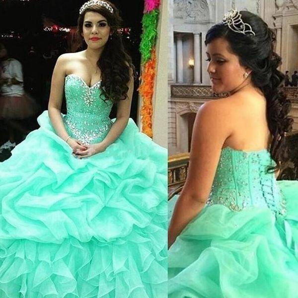 Elegant Sweetheart Ruffles Quinceanera Dresses Mint Green Vestidos de Sweet 16 anos Back Corset Ball Gown Prom Birthday Party BA4006