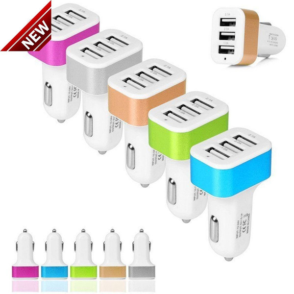 best selling New Universal Triple USB Car Charger Adapter USB Socket 3 Port Car-charger For iPhone Samsung Ipad Free DHL If more than 200pcs