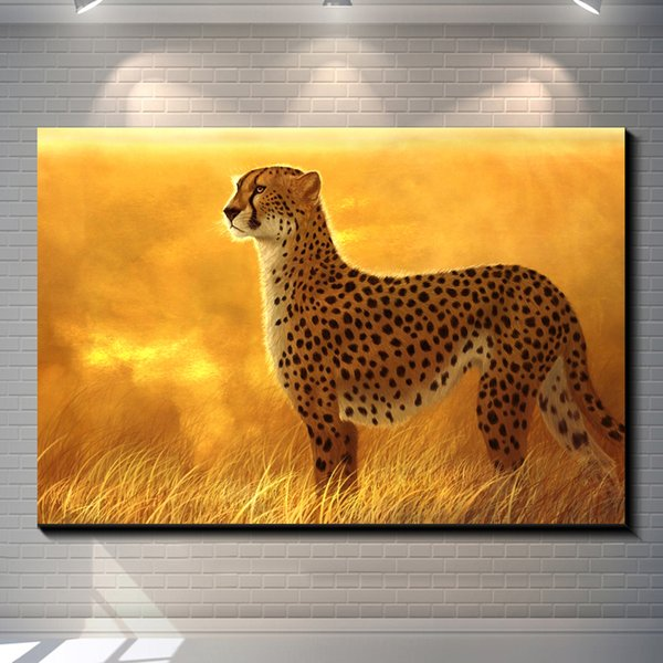 Vintage Abstract Animal GOLDEN LEOPARD creative posters painting ...