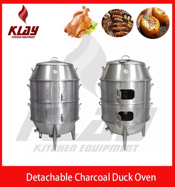 ménage commercial chinois canard de Pékin torréfacteur four poulet charbon de bois torréfaction de pommes de terre barbecue fumeur en acier inoxydable détachable