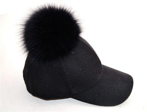 Cotton baseball cap with Single Pom Pom fox fur hats unisex adjustable snapback hat caps newest free shipping