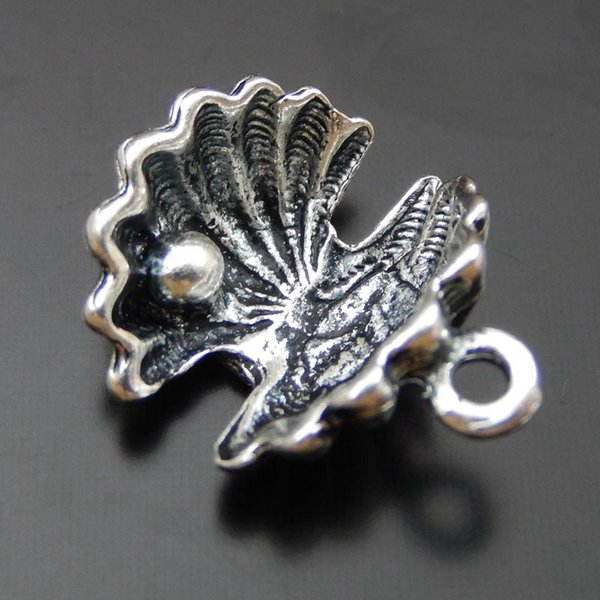 20PCS Antique Silver Alloy Shell Charm Pendant Jewelry Finding 13*12mm 39855 jewelry making